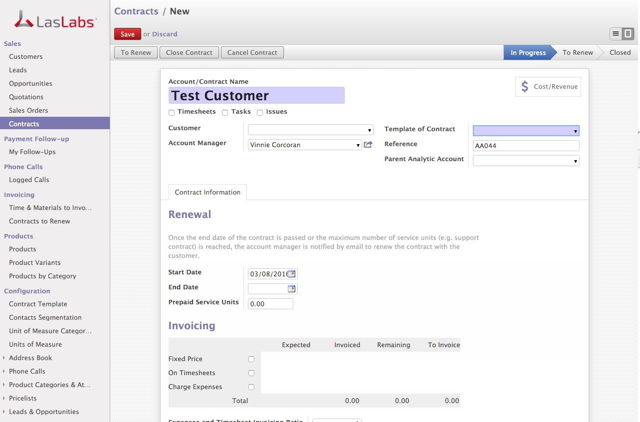 Odoo Sales Order Contract Create